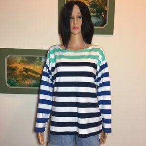 Vineyard Vines cotton long  stripes sleeve top